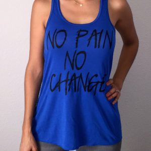 No Pain No Change Blue Flowy Tank Top