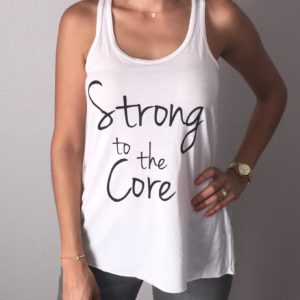 Strong to the Core White Flowy Tank Top